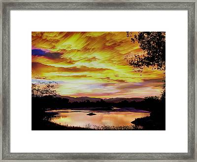 Sunset Over A Country Pond Framed Print