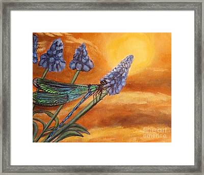 Framed Print featuring the painting Summer Sunset Over A Dragonfly by Kimberlee Baxter