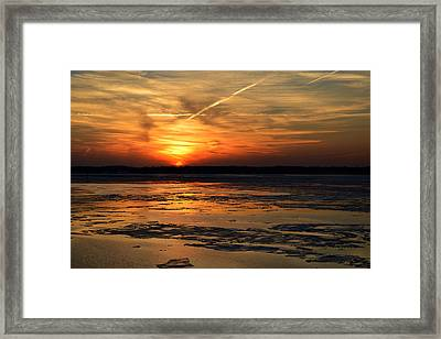 Framed Print featuring the photograph Sunset Over A Frozen Chesapeake Bay by Bill Swartwout