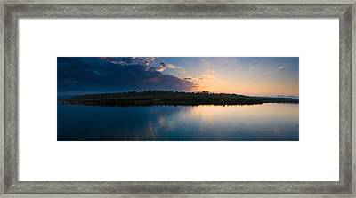 Sunset Over A Lake, Chitwan National Framed Print