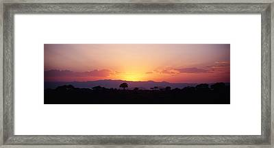 Sunset Over A Landscape, Tarangire Framed Print by Panoramic Images