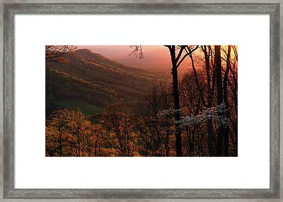 Sunset Over A Springtime Landscape Framed Print