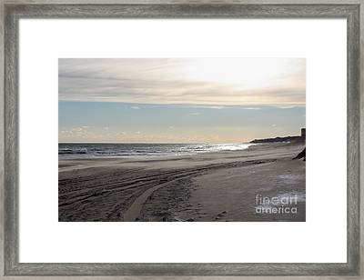Sunset Over Atlantic Ocean In Montauk Framed Print by John Telfer