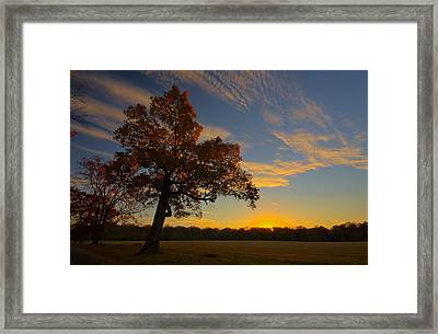 Sunset Over Barnes Field Framed Print