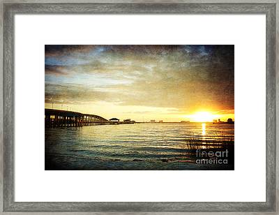 Sunset Over Biloxi Bay Framed Print by Joan McCool