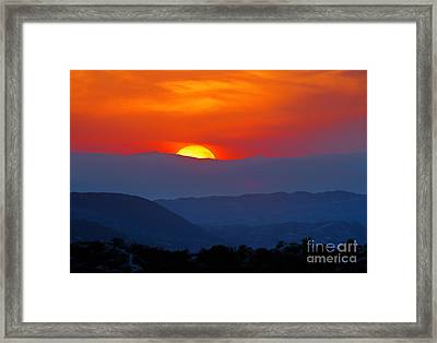 Framed Print featuring the photograph Sunset Over California by Martin Konopacki