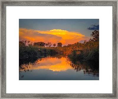 Sunset Over Camp Sandibe Framed Print