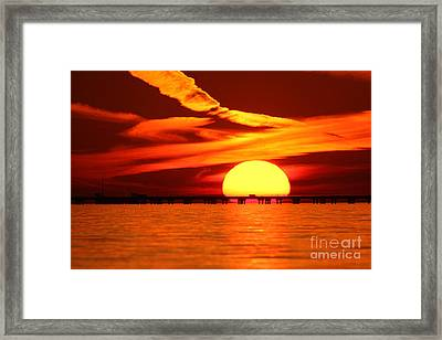 Sunset Over Causeway Framed Print
