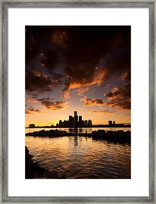 Sunset Over Detroit Framed Print by Cale Best