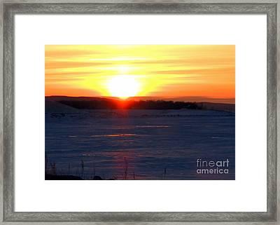 Sunset Over Devils Lake Framed Print