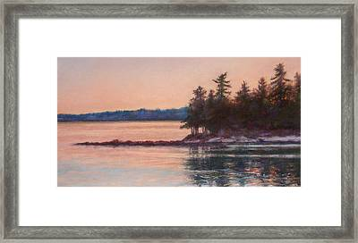 Sunset Over Emerald Point Lake Sebago Maine    Framed Print