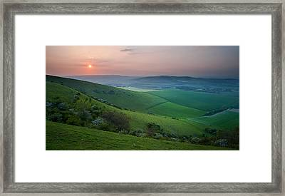 Sunset Over English Countryside Escarpment Landscape Framed Print by Matthew Gibson