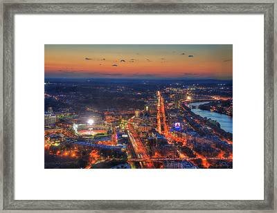 Sunset Over Fenway Park And The Citgo Sign Framed Print by Joann Vitali