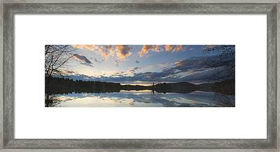 Sunset Over Flying Pond In Vienna Maine Framed Print