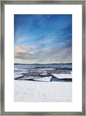 Sunset Over Frozen Lake Framed Print