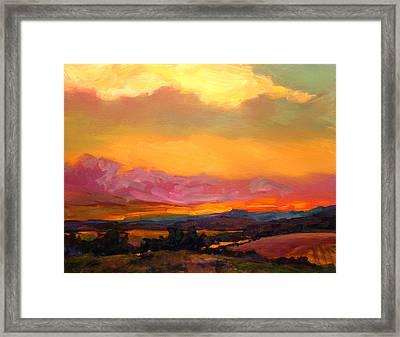 Sunset Over Green Mountains Framed Print by Savlen Art