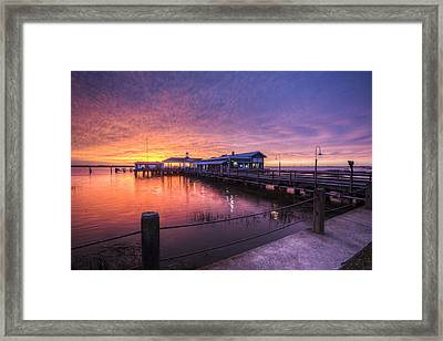 Sunset Over Jekyll Island Framed Print by Debra and Dave Vanderlaan