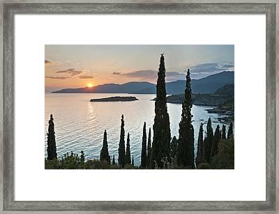 Sunset Over Kalamitsi Bay Near Kardamyli In Greece. Framed Print by Peter Eastland