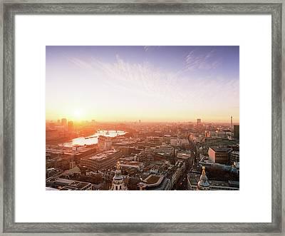 Sunset Over London City Framed Print by Shomos Uddin