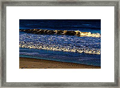 Sunset Over Marbled Wave And Popcorn Breakers Framed Print