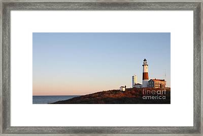 Framed Print featuring the photograph Sunset Over Montauk Lighthouse by John Telfer