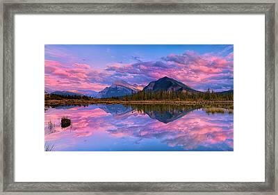 Sunset Over Mount Rundle Framed Print