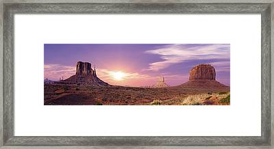 Sunset Over Mountain Valley Framed Print by Aged Pixel