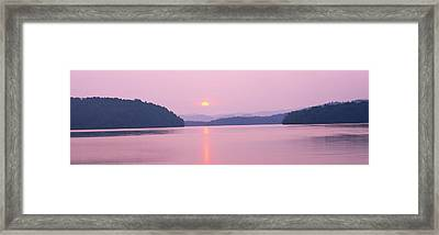 Sunset Over Mountains, Lake Chatuge Framed Print