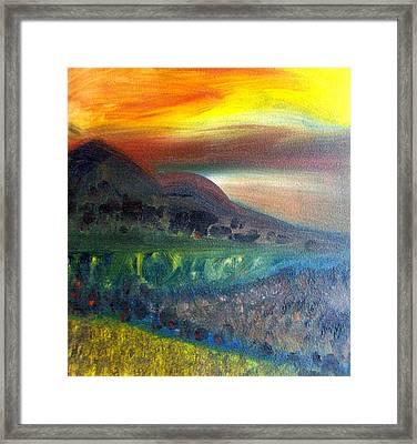 Sunset Over Mountains  Framed Print by Michaela Kraemer