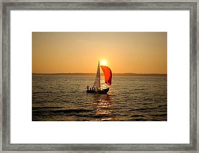 Sunset Over Narragansett Bay Framed Print by Allan Millora