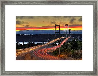 Sunset Over Narrows Bridges Framed Print