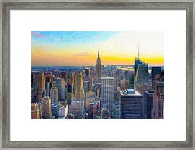Sunset Over New York City Framed Print by Mark E Tisdale