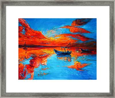 Sunset Over Ocean Framed Print by Ivailo Nikolov