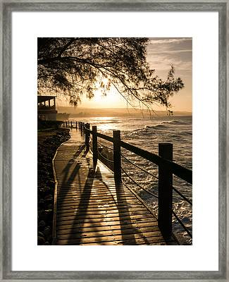 Sunset Over Ocean Walkway Framed Print