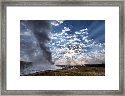 Sunset Over Old Faithful - Horizontal Framed Print by Andres Leon