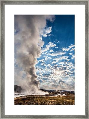 Sunset Over Old Faithful - Vertical Framed Print by Andres Leon