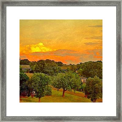 Sunset Over Orchard - Square Framed Print by Lyn Voytershark