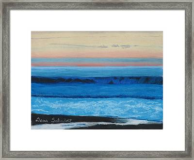 Sunset Over Pacfic Ocean Surf Framed Print