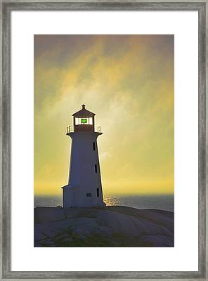 Sunset Over Peggys Cove Lighthouse Framed Print by Thomas Kitchin & Victoria Hurst