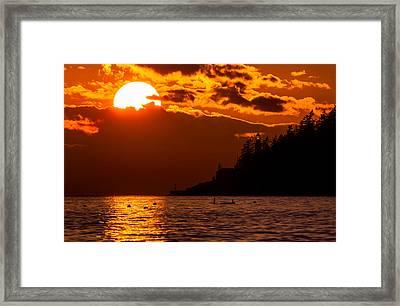 Sunset Over Point Atkinson Lighthouse Framed Print