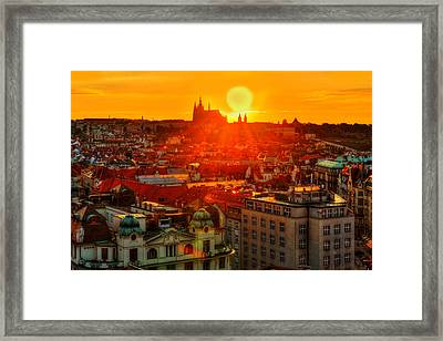 Sunset Over Prague Framed Print by Midori Chan
