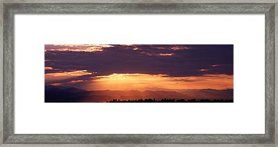 Sunset Over Rocky Mts From Daniels Park Framed Print by Panoramic Images