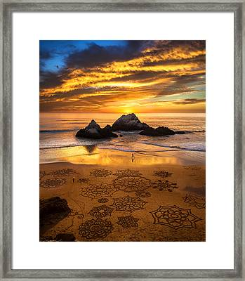 Sunset Over Sand Art Framed Print by Fred Rowe