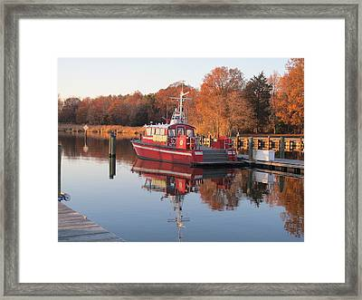 Sunset Over Sandy Point Framed Print by Valia Bradshaw