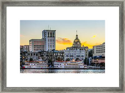Sunset Over Savannah Framed Print by Rob Sellers