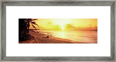 Sunset Over Sea, Sint Maarten Framed Print by Panoramic Images