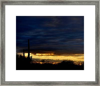 Sunset Over Sonoran Desert Framed Print by Jon Van Gilder