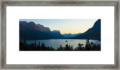 Sunset Over St. Mary Lake With Wild Framed Print
