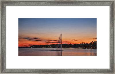 Sunset Over Storm Lake Framed Print by T C Hoffman