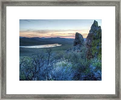 Framed Print featuring the photograph Sunset Over Sunflower Reservoir by Jenessa Rahn